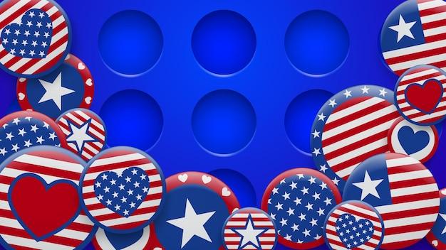 Illustration vectorielle de divers symboles des états-unis dans des couleurs rouges et bleues sur fond avec des trous