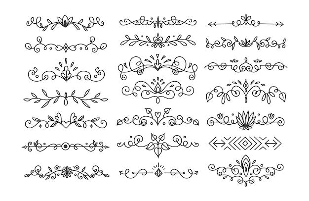 Illustration vectorielle de diviseur de fleurs dessiné à la main