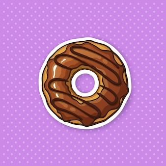 Illustration vectorielle donut avec glaçage au chocolat et caramel autocollant en style cartoon avec contour