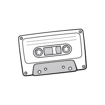 Illustration vectorielle doodle dessiné main de cassette audio rétro