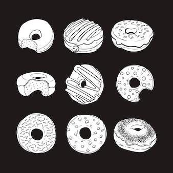 Illustration vectorielle de doodle donut