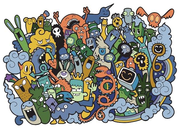 Illustration vectorielle de doodle fond mignon monster
