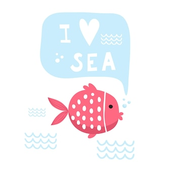 Illustration vectorielle doodle mer. style scandinave. cartes prêtes avec des animaux marins, baleine, épaulard, crabes mouette poissons symboles de la mer