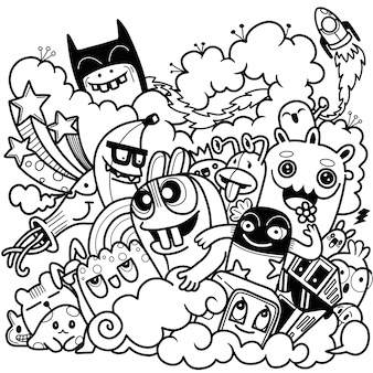 Illustration vectorielle de doodle mignon, ensemble de doodle de monstre drôle