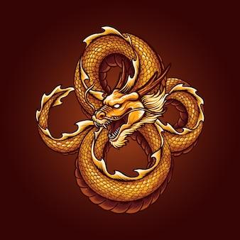 Illustration vectorielle de dragon chinois or