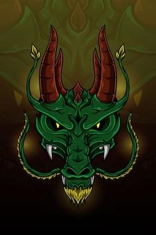 Illustration vectorielle de dragon double corne