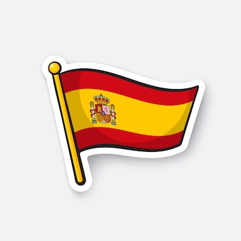 Illustration vectorielle drapeau de l'espagne sur flagstaff symbole d'emplacement pour les voyageurs autocollant de dessin animé