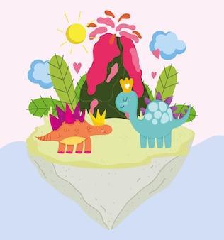 Illustration vectorielle de drôle de bande dessinée dinos animaux volcan préhistorique