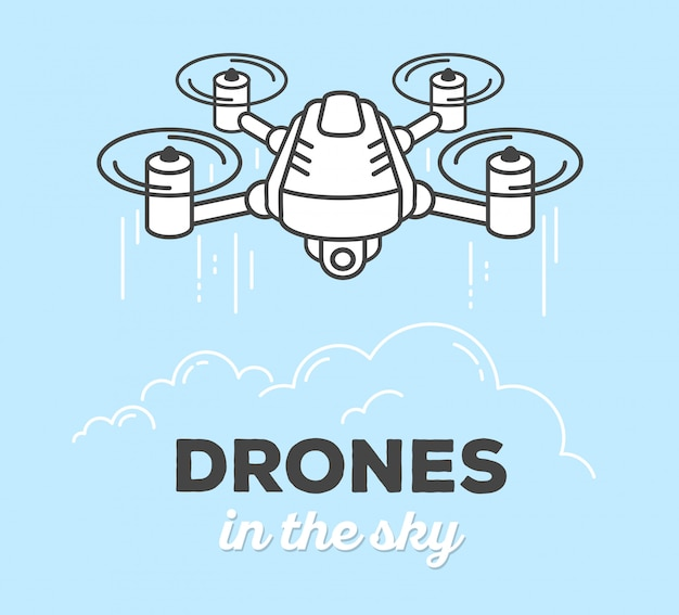 Illustration vectorielle de drone créatif avec texte sur fond bleu. drone dans le ciel