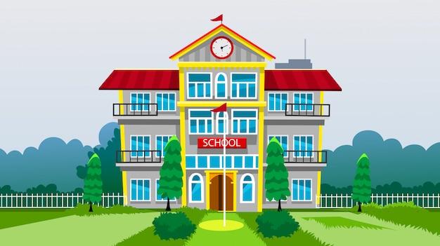 Illustration vectorielle du bâtiment scolaire