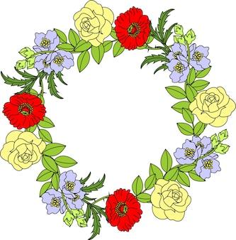 Illustration vectorielle du cadre de couronne ronde avec des fleurs cercle floral festif