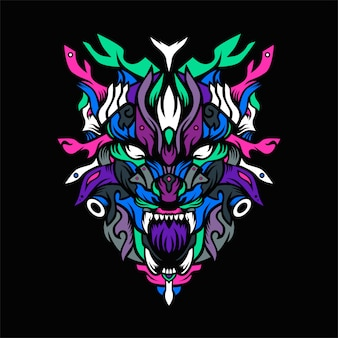 L'illustration vectorielle du chasseur de loup