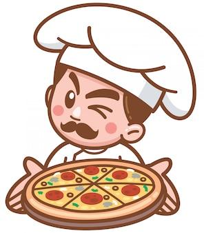 Illustration vectorielle du chef pizza dessin animé présentant des aliments