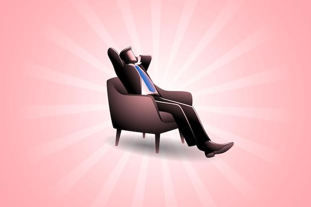 Illustration vectorielle du concept d'entreprise, détente dans le canapé sur fond clair
