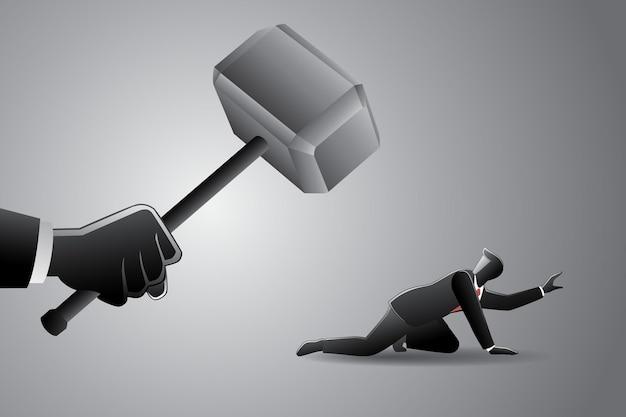 Illustration vectorielle du concept d'entreprise, grosse main avec un marteau chassant un petit homme d'affaires