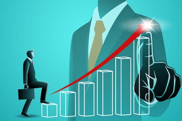 Illustration vectorielle du concept d'entreprise, homme d'affaires marchant sur un graphique en croissance sur fond de main pointant vers la flèche