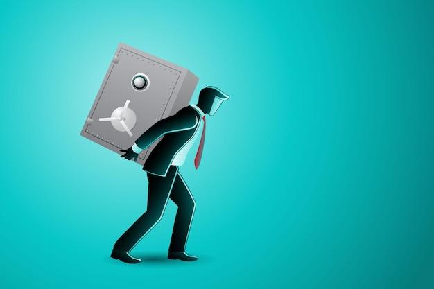Illustration vectorielle du concept d'entreprise, homme d'affaires portant un coffre-fort sur le dos