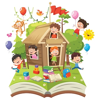 Illustration vectorielle du concept nature enfants