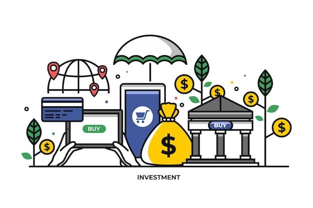 Illustration vectorielle du concept de planification financière analyse du marché du marketing bancaire finance