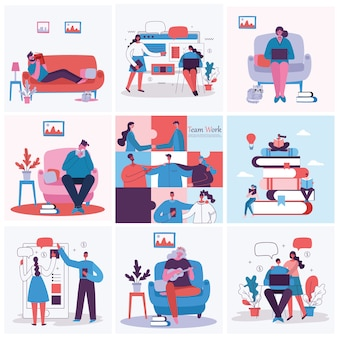 Illustration vectorielle du concept de travail d'équipe, entreprise et démarrage