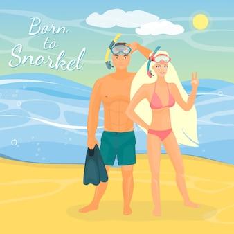 Illustration vectorielle du jeune couple en masques de plongée en apnée, debout au bord de mer.