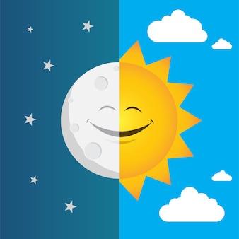 Illustration vectorielle du jour et de la nuit