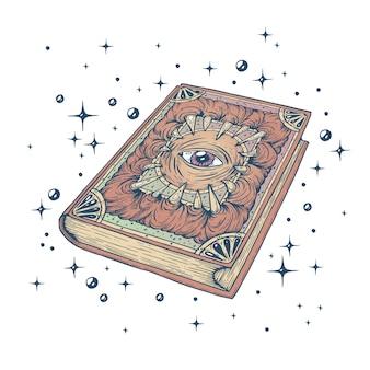Illustration vectorielle du livre magique le grimoire des sorcières