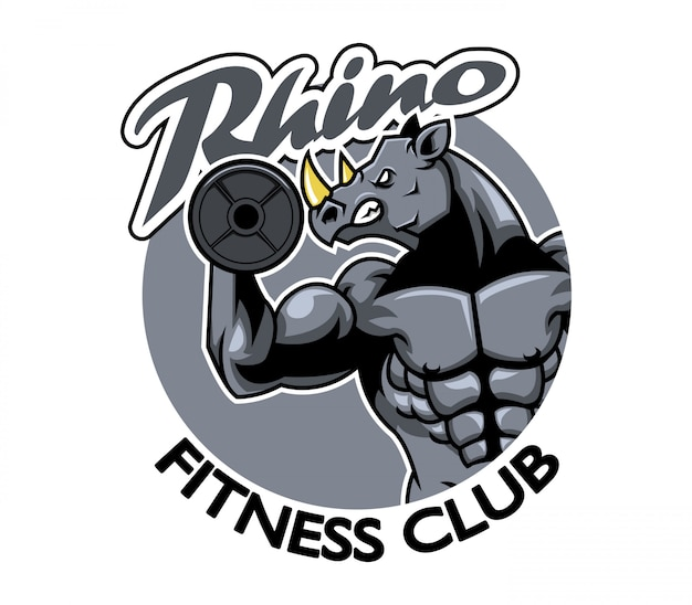 Illustration vectorielle du logo du club de fitness rhino