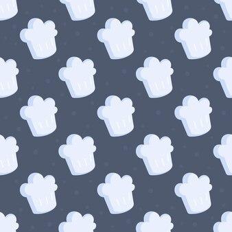 Illustration vectorielle du modèle de chapeau de chef. illustration transparente d'un motif de chapeau de chef blanc. icône de chapeau de chef en style cartoon isolé sur fond bleu.