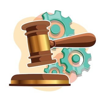 Illustration vectorielle du modèle hammer.3d des juges du marteau du juge. isolé.