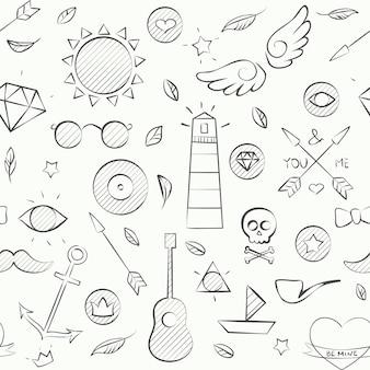 Illustration vectorielle du modèle sans couture de hipster doodle dessinés à la main. fond dessiné à la main sur blanc.