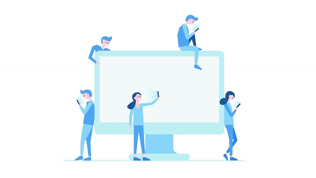 Illustration vectorielle du monde moderne informationnel. surveiller et les gens