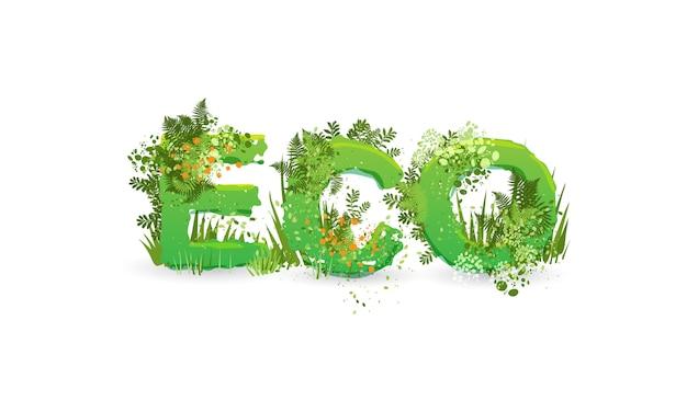 Illustration vectorielle du mot eco stylisé comme une forêt tropicale, avec des branches, des feuilles, de l'herbe et des buissons à côté d'eux.