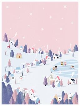 Illustration vectorielle du pays des merveilles de l'hiver en fond pastel rose.