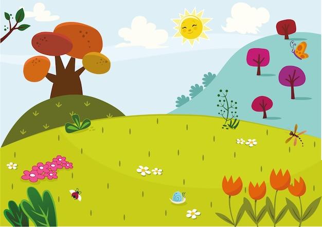 Illustration vectorielle du paysage de printemps