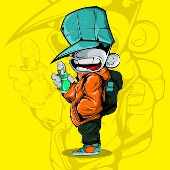 Illustration vectorielle du personnage d'artiste de rue avec pulvérisateur