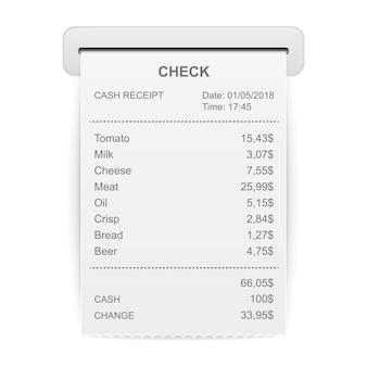Illustration vectorielle du reçu imprimé des ventes.
