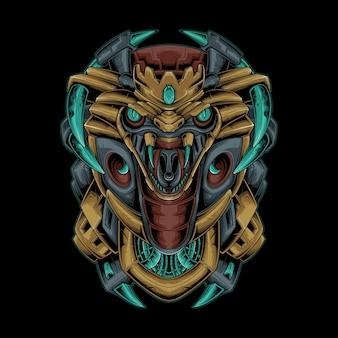 Illustration vectorielle du roi cobra mecha