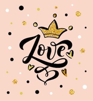 Illustration vectorielle du texte d'amour pour les vêtements de filles amour badgetagicon carte de citation inspirante