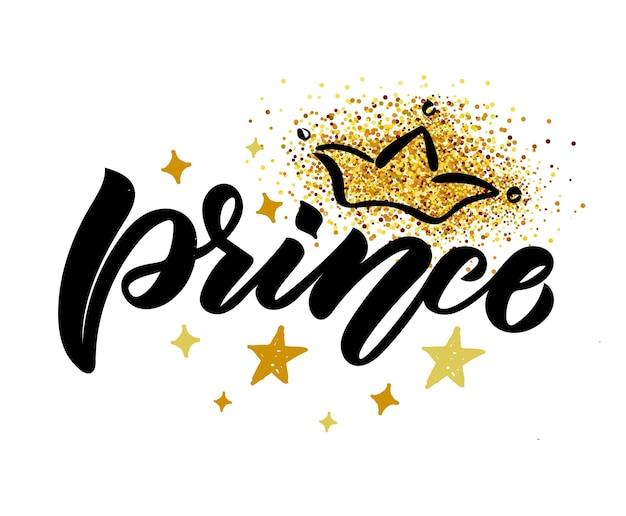 Illustration vectorielle du texte du petit prince pour les vêtements des garçons icône de l'étiquette du badge petit prince tshirt