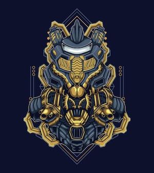 Illustration vectorielle de dur guerrier humanoïde robot mascotte