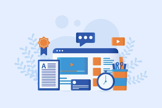 Illustration vectorielle e-learning plat