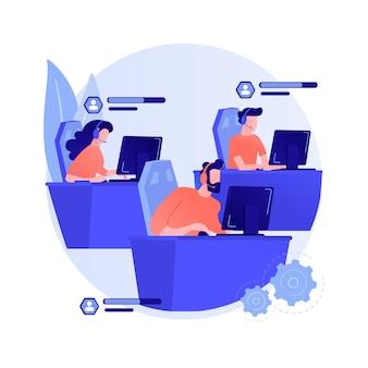 Illustration vectorielle de e-sport équipe concept abstrait. groupe de joueurs e-sport, équipe professionnelle, ligue de sport en ligne, championnat de jeu, navigateur internet, jouer ensemble, métaphore abstraite de collaboration.