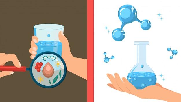 Illustration vectorielle de l'eau pure et sale couleur