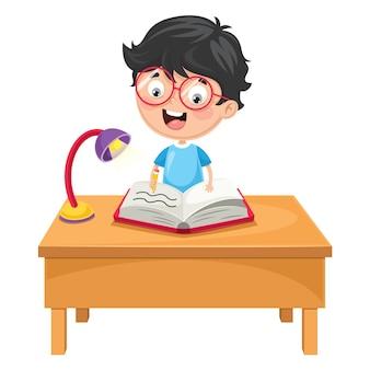 Illustration vectorielle de l'écriture de l'enfant