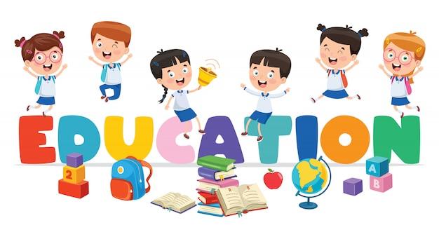 Illustration vectorielle de l'éducation des enfants