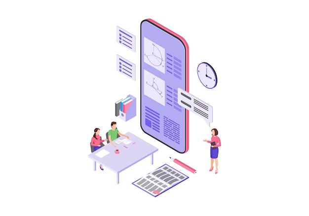 Illustration vectorielle de l'éducation en ligne couleur isométrique