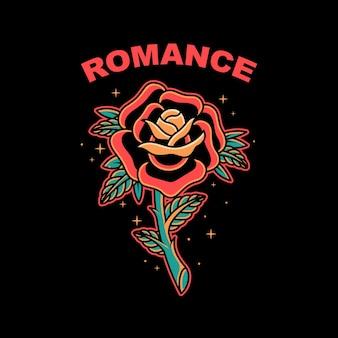 Illustration vectorielle élégante rose old school sur fond isolé