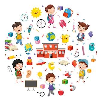 Illustration vectorielle des éléments de l'éducation