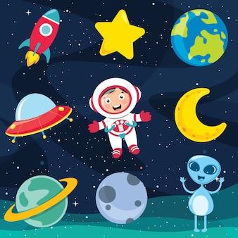 Illustration vectorielle des éléments de l'espace